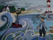 tableau marine bateau mer feutre toile : Vagues