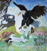 tableau animaux aigle escargot fable mixmedia : L'Aigle et l'Escargot