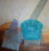 tableau scene de genre fauteuil sable huile pigments : Fauteuil