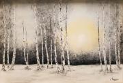 tableau paysages bouleaux neige : bouleaux sous la neige