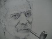 tableau personnages brassens stylo bic portrait : Georges Brassens