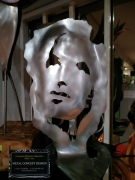 sculpture personnages sculpture metal visage inox : sculpture LyChar inox portrait 3