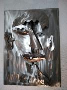 sculpture personnages sculpture metal tableau visage : Scupture LyChar tableau métal portrait