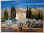 dessin paysages : Les oliviers