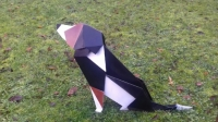 Chien Bouvier sculpture origami metal