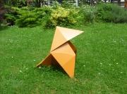 sculpture animaux sculpture origami metal decoration : Cocotte sculpture origami metal