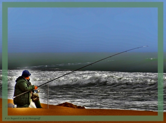 ART NUMéRIQUE mer pêcheur patience contemplation Scène de genre  - L'attente