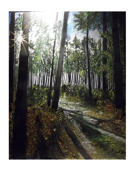 TABLEAU PEINTURE forêt lumière matin Paysages Acrylique  - Forêt landaise