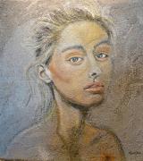 tableau personnages portrait pastel fond sur bois : Pastel sur bois