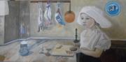 tableau scene de genre hommage johannes vermeer : Fille à la pomme de terre