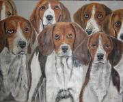tableau animaux chiens chasse meute : La Meute de chiens