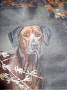 tableau animaux chien ,a l affut : Chien de chasse