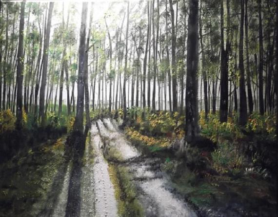 TABLEAU PEINTURE forêt chemin lumière Paysages Acrylique  - Forêt landaise 2