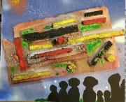 tableau abstrait cite collage ville atlantide : LA CITE PERDUE