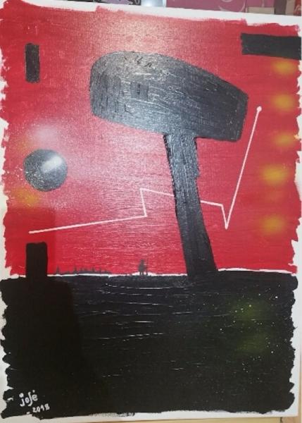 TABLEAU PEINTURE la bombarde une massue abstrait La guerre Abstrait Acrylique  - LA BOMBARDE