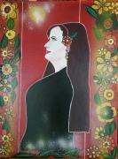 tableau personnages jeune fille elegance fleur mystere : LA JEUNE FILLE