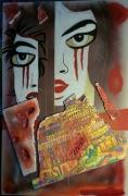 tableau abstrait fille dechiree tour de babel pop art collage : LA FILLE DECHIREE