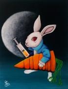 tableau animaux lapin lune super hero blanc : le Hero
