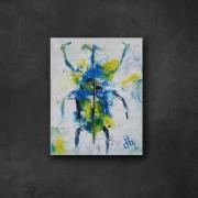 tableau animaux scarabee insecte abstrait tache : scarabée