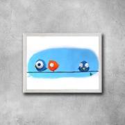 tableau animaux oiseaux animal bleu orange : La différence
