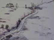 tableau paysages paysage hiver neige campagne : Paysage d'hiver