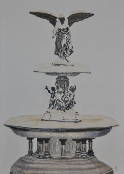 PAINTING fontaine Bethesta New York Central Park Architecture Encre de Chine  - Bethesta fountain
