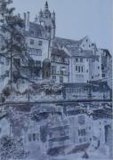 tableau paysages dole canal reflets : Dôle le canal