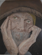 tableau personnages portrait vieux homme : vieil homme pensif