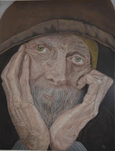 TABLEAU PEINTURE portrait vieux homme Personnages Pastel  - vieil homme pensif