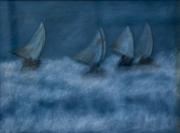 tableau marine bateau voilier tempete mer : bateaux dans la tempête