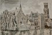 tableau paysages bruges canal belgique : Bruges