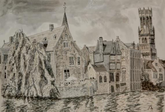 TABLEAU PEINTURE Bruges Canal Belgique Paysages Encre de Chine  - Bruges