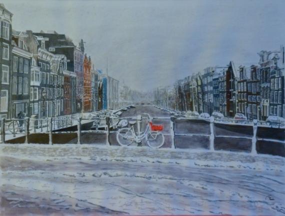 TABLEAU PEINTURE Amsterdam vélo canal encre Paysages Encre de Chine  - Amsterdam le vélo rouge