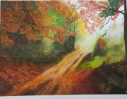 tableau paysages automne chemin ete indien : Chemin d'Automne