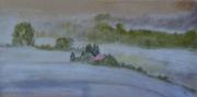 tableau paysages maison hiver paysage brume : la maison perdue