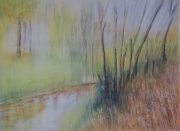 tableau paysages riviere automne brume arbres : Au bord de l'eau