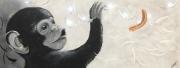 tableau animaux peinture animal acrylique singe : Un espoir ?