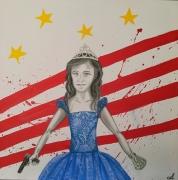 tableau personnages america enfant argent gun : America