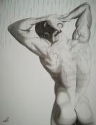 tableau personnages homme nu shower : Homme sous la douche