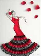 tableau personnages danse flamenco espagne rouge : Flamenco