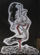 painting animaux : stork