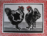 painting animaux : cock and chicken