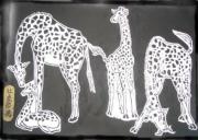 painting animaux : giraffes