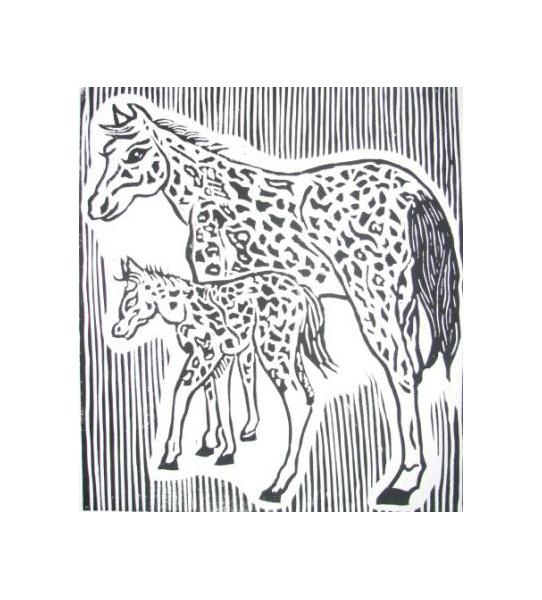 TABLEAU PEINTURE Animaux Gravure  - chevaux