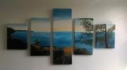 tableau paysages lac payage acrylique gironde : Lac de Hourtens