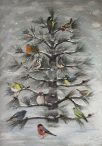 oiseaux des jardins sur un jeune pin