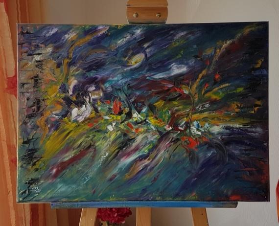 TABLEAU PEINTURE Abstrait Peinture a l'huile  - Les feux de la rampe