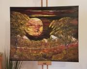 tableau paysages : Lune rouge