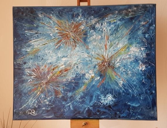 TABLEAU PEINTURE Abstrait Peinture a l'huile  - Galaxies Effervescentes