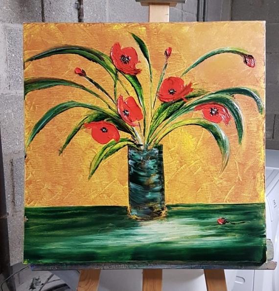TABLEAU PEINTURE Fleurs Peinture a l'huile  - Coquelicots